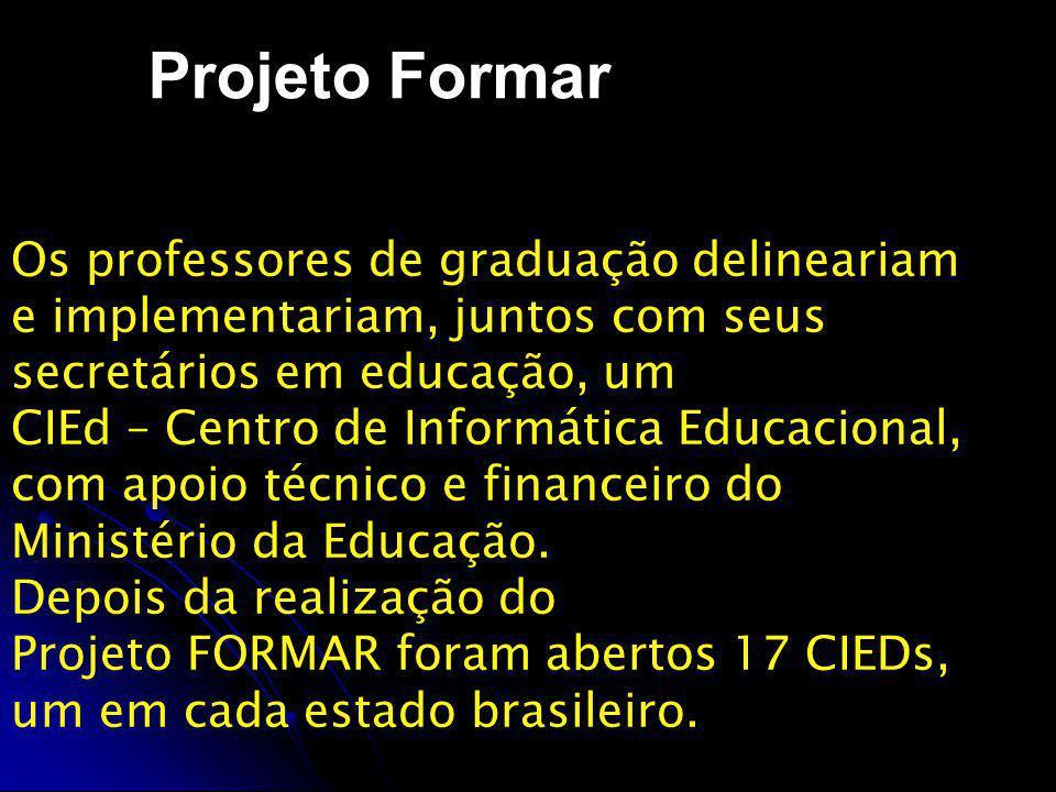 Projeto Formar Os professores de graduação delineariam