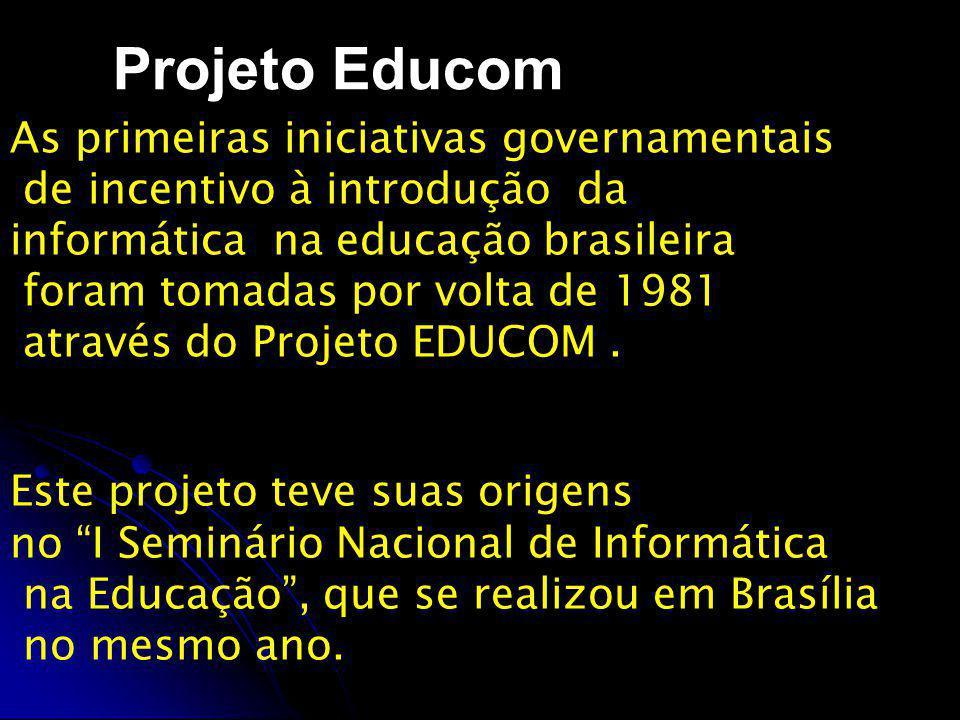 Projeto Educom As primeiras iniciativas governamentais