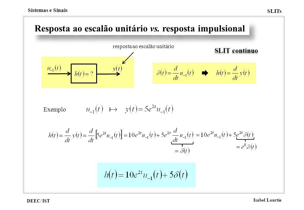 Resposta ao escalão unitário vs. resposta impulsional