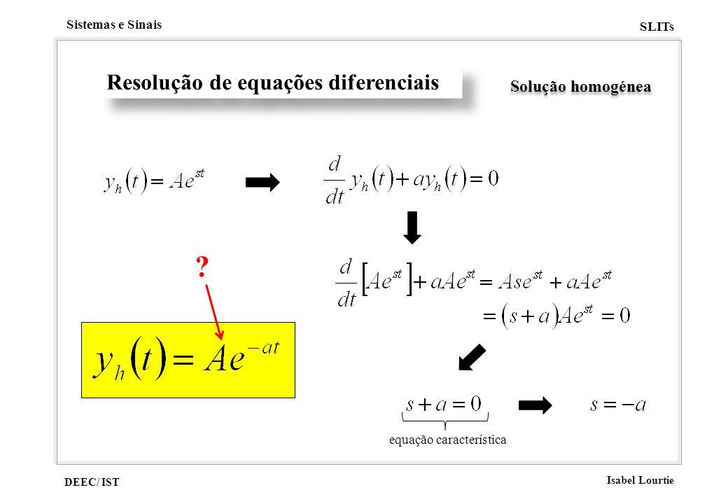 Resolução de equações diferenciais Solução homogénea