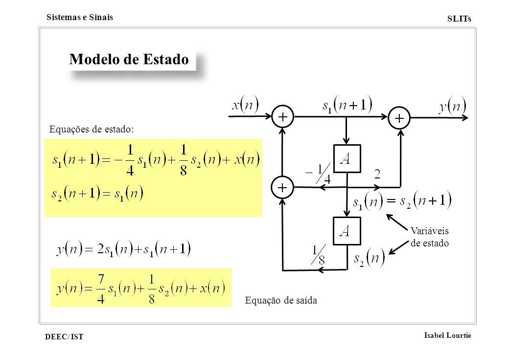 Modelo de Estado Equações de estado: Variáveis de estado