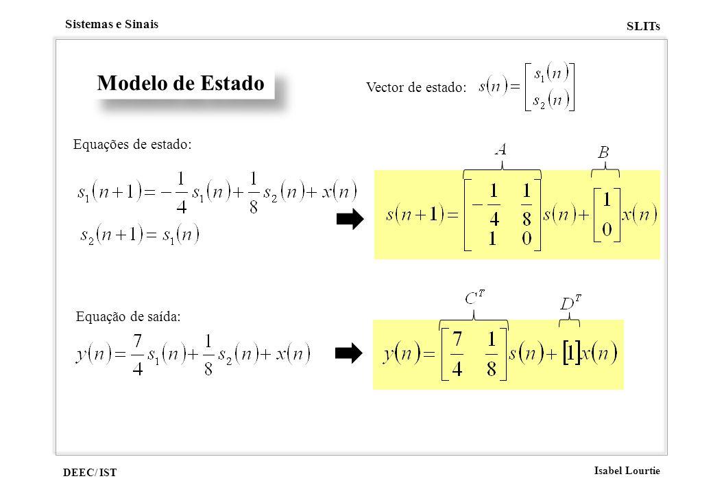 Modelo de Estado Vector de estado: Equações de estado: