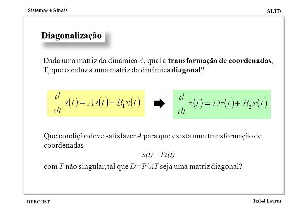 Diagonalização Dada uma matriz da dinâmica A, qual a transformação de coordenadas, T, que conduz a uma matriz da dinâmica diagonal