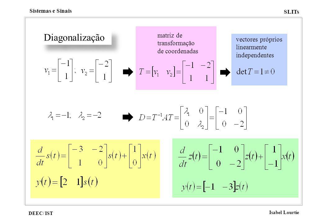Diagonalização matriz de transformação vectores próprios