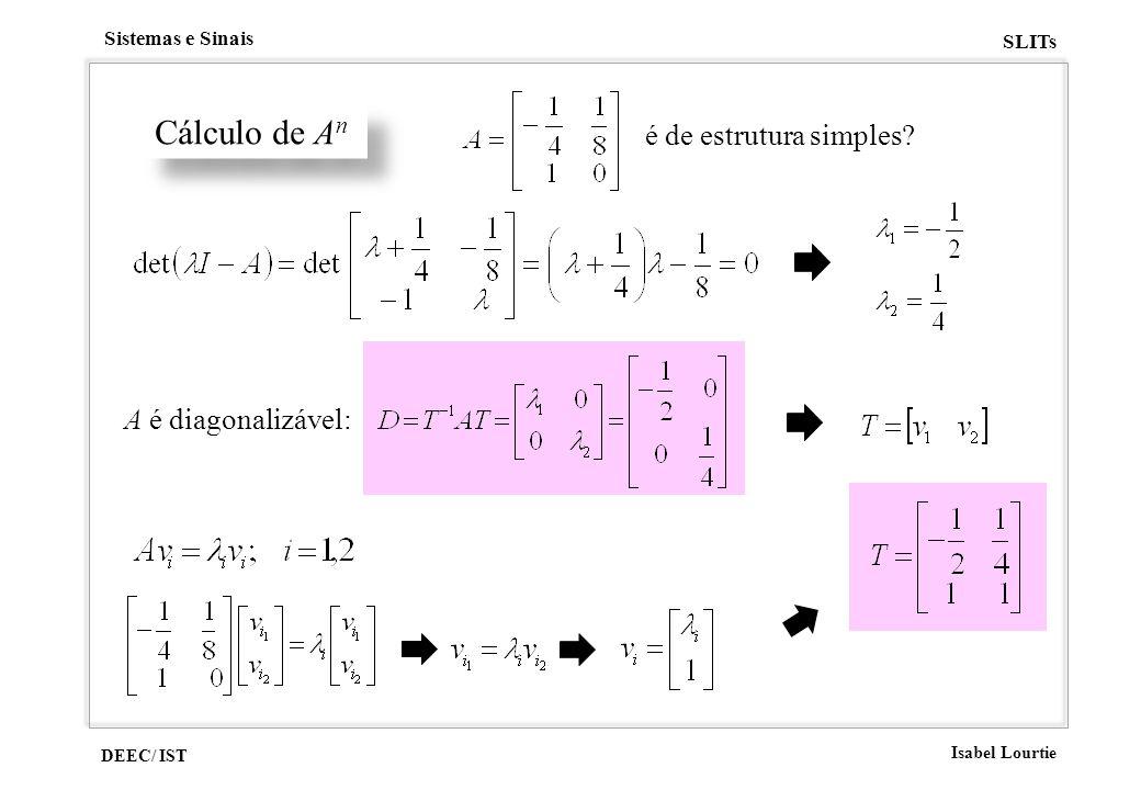 é de estrutura simples Cálculo de An A é diagonalizável: