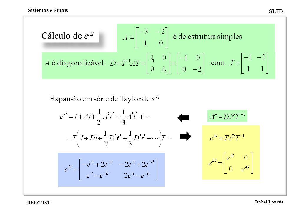 Cálculo de eAt é de estrutura simples A é diagonalizável: com