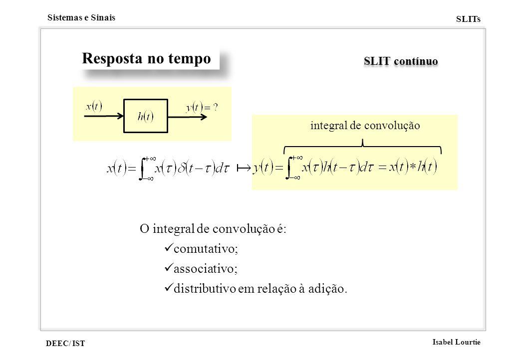 Resposta no tempo O integral de convolução é: comutativo; associativo;