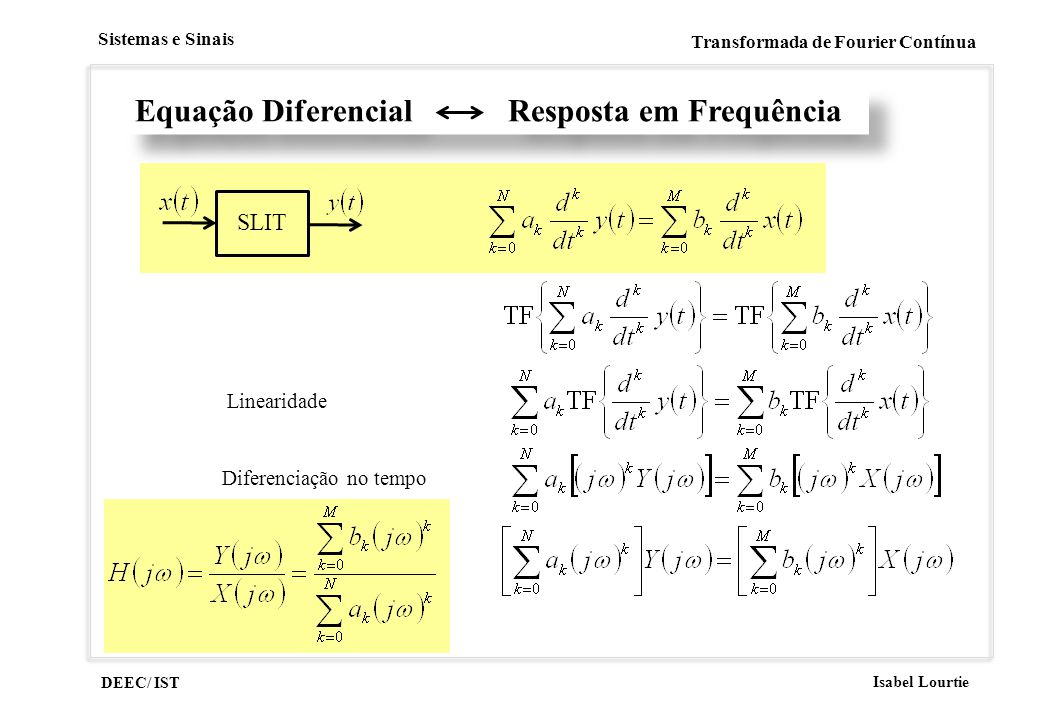 Equação Diferencial Resposta em Frequência