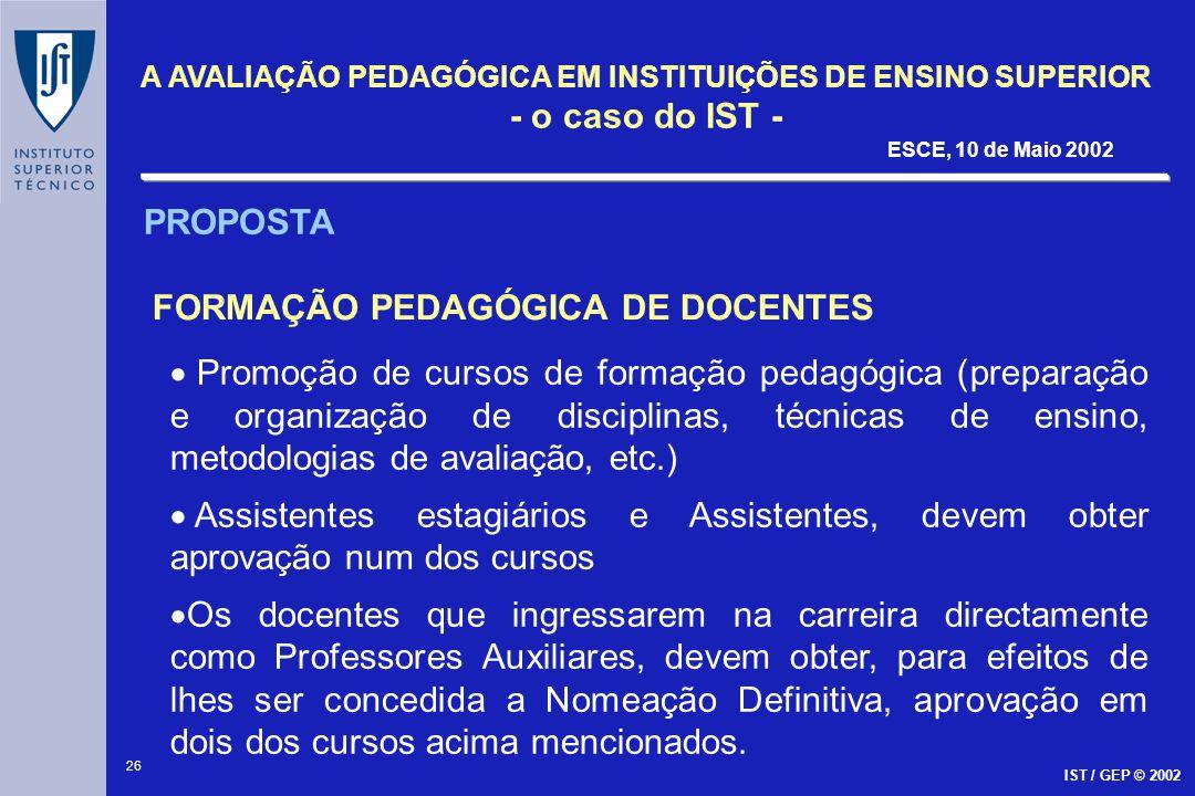 PROPOSTA FORMAÇÃO PEDAGÓGICA DE DOCENTES.