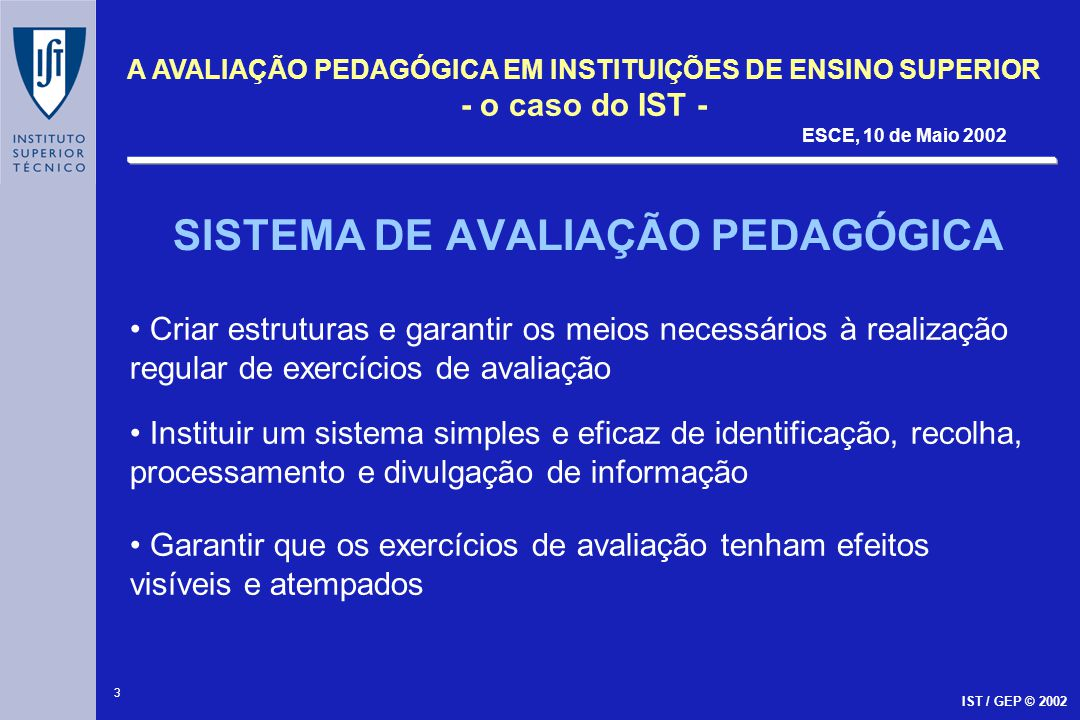 SISTEMA DE AVALIAÇÃO PEDAGÓGICA