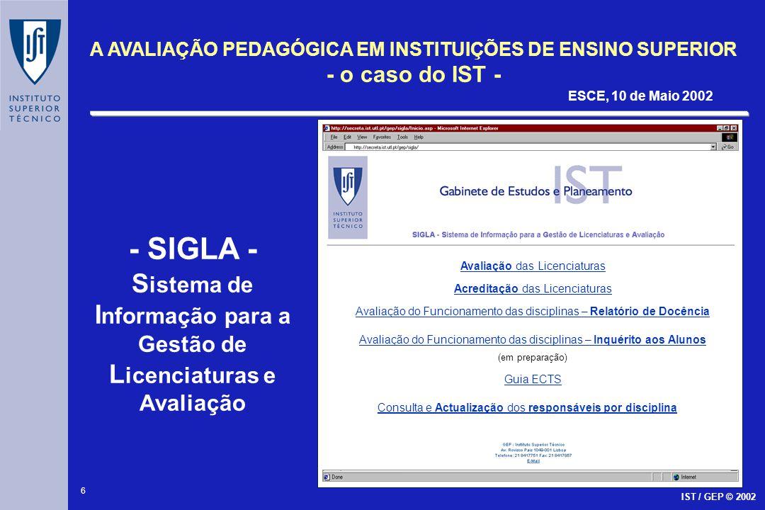 - SIGLA - Sistema de Informação para a Gestão de Licenciaturas e Avaliação