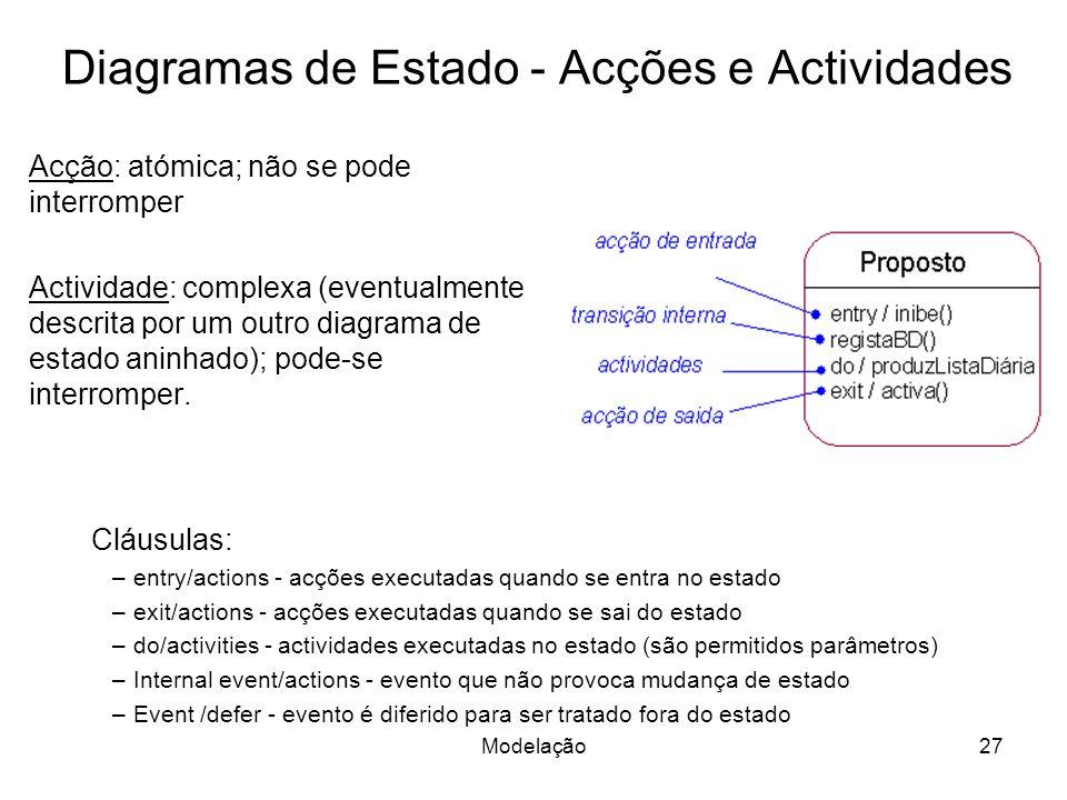 Diagramas de Estado - Acções e Actividades