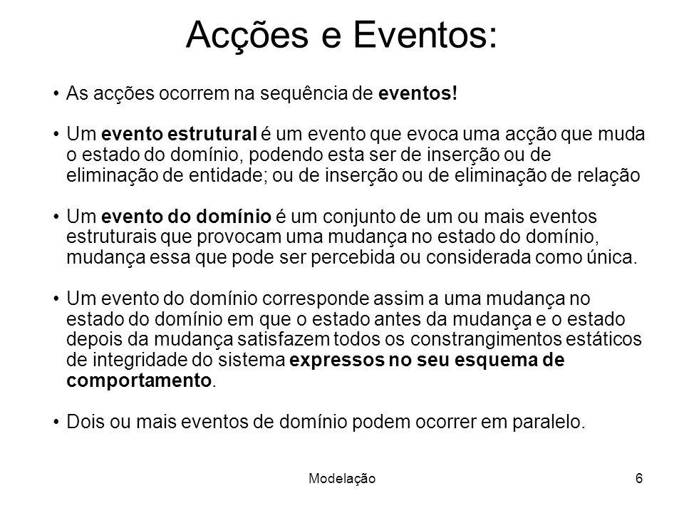 Acções e Eventos: As acções ocorrem na sequência de eventos!