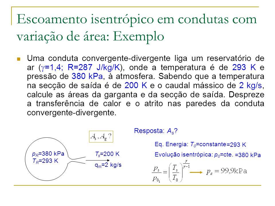 Escoamento isentrópico em condutas com variação de área: Exemplo
