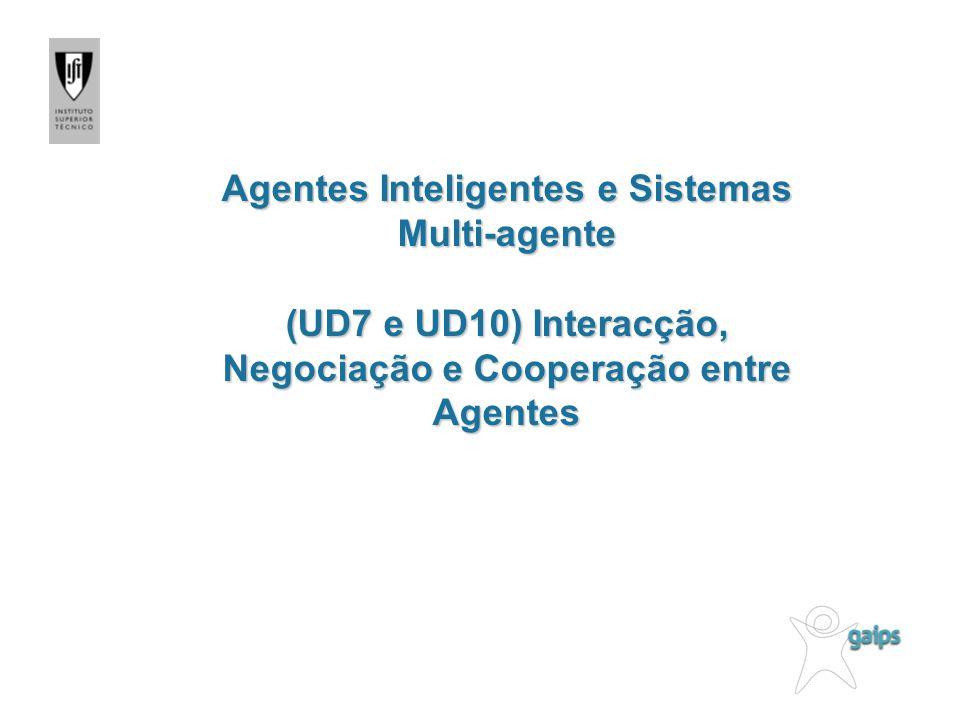 Agentes Inteligentes e Sistemas Multi-agente (UD7 e UD10) Interacção, Negociação e Cooperação entre Agentes