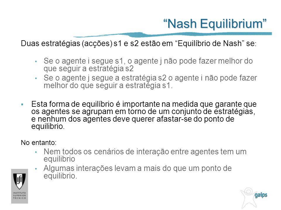 Nash Equilibrium Duas estratégias (acções) s1 e s2 estão em Equilíbrio de Nash se:
