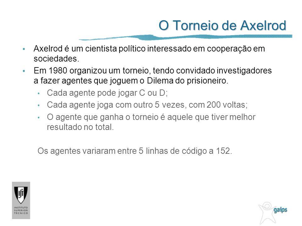 O Torneio de Axelrod Axelrod é um cientista político interessado em cooperação em sociedades.