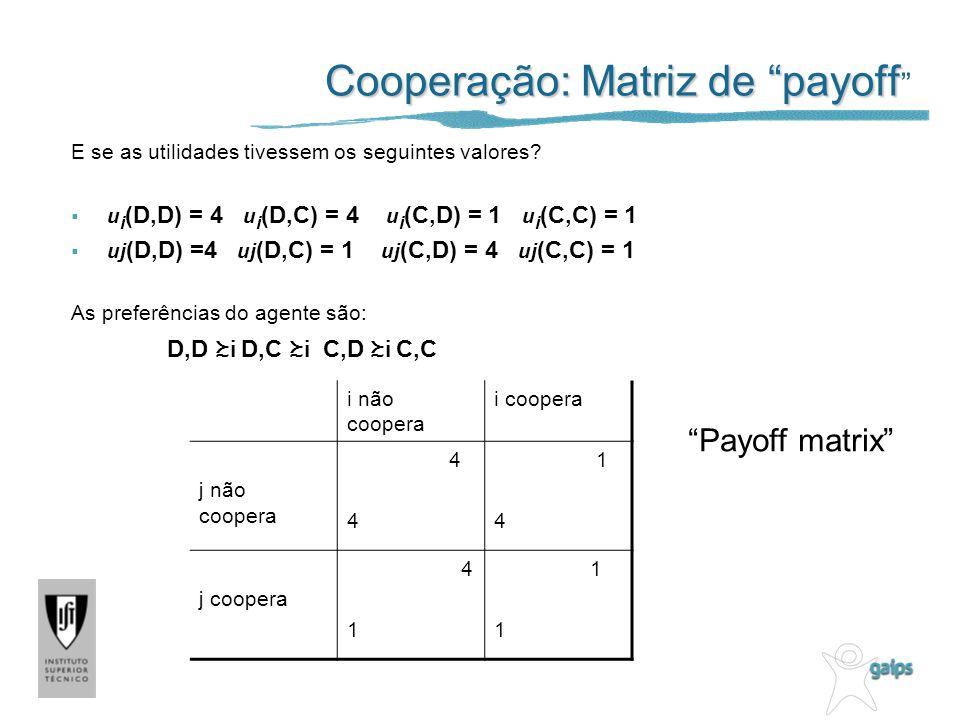 Cooperação: Matriz de payoff