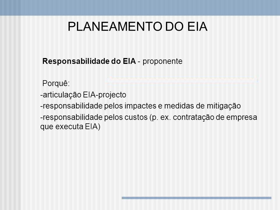 PLANEAMENTO DO EIA Responsabilidade do EIA - proponente Porquê: