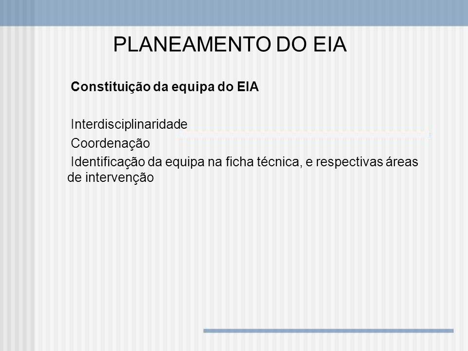 PLANEAMENTO DO EIA Constituição da equipa do EIA Interdisciplinaridade