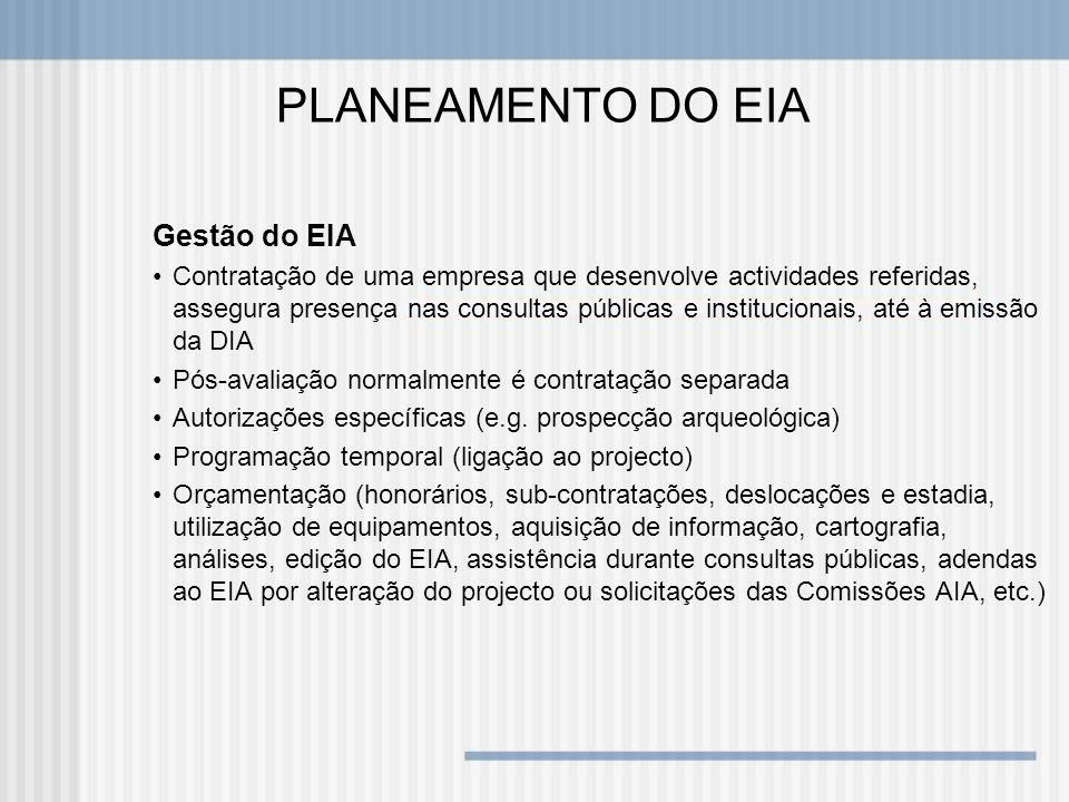 PLANEAMENTO DO EIA Gestão do EIA