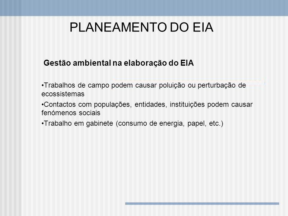 PLANEAMENTO DO EIA Gestão ambiental na elaboração do EIA