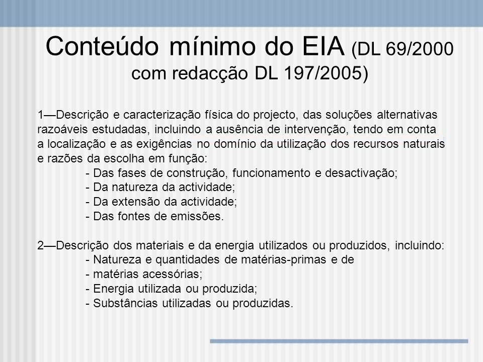Conteúdo mínimo do EIA (DL 69/2000 com redacção DL 197/2005)