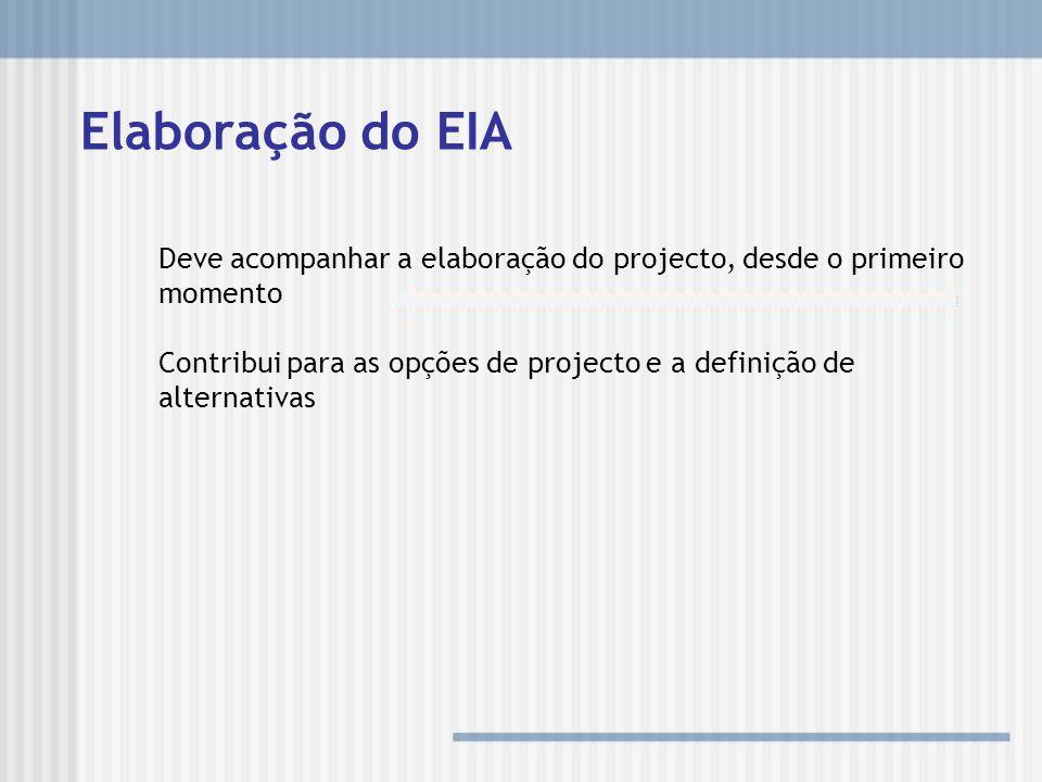 Elaboração do EIA Deve acompanhar a elaboração do projecto, desde o primeiro momento.
