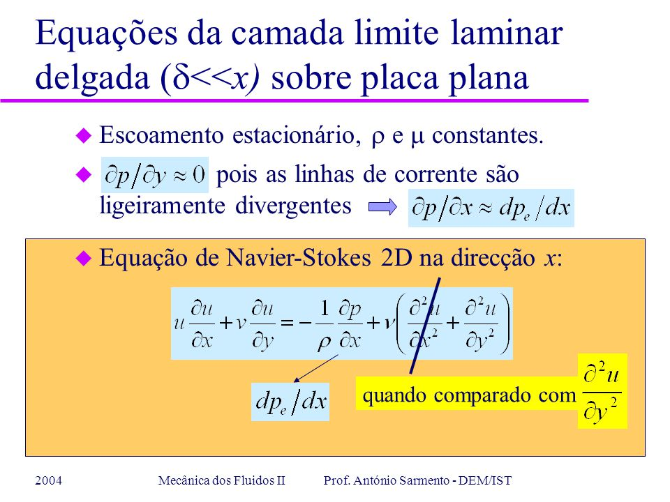 Mecânica dos Fluidos II Prof. António Sarmento - DEM/IST