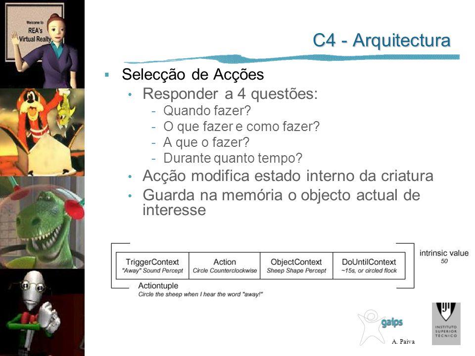 C4 - Arquitectura Selecção de Acções Responder a 4 questões: