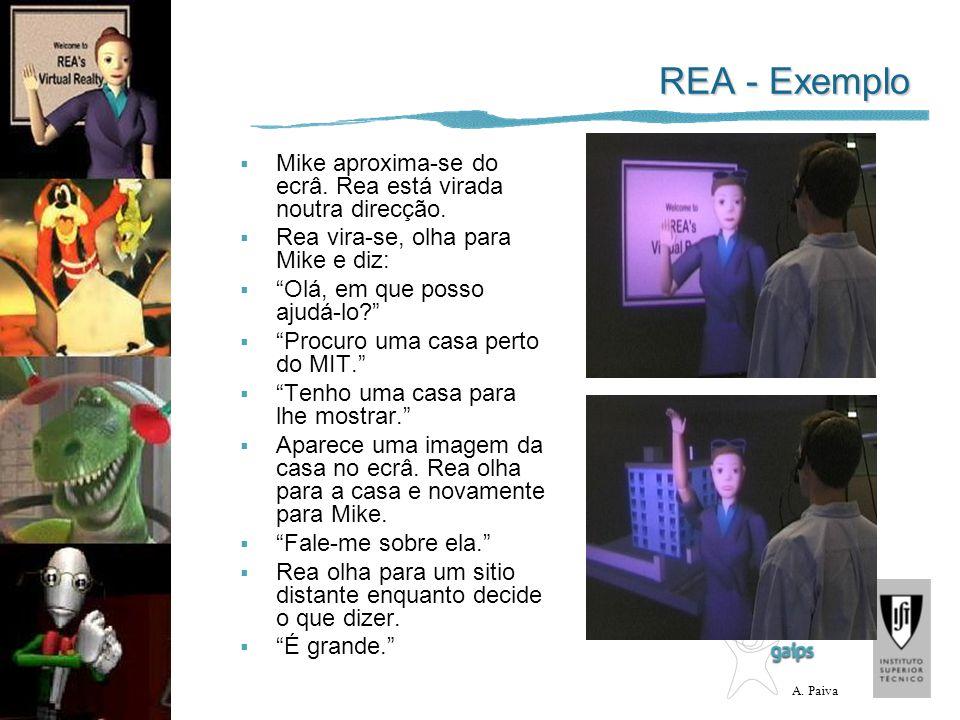 REA - Exemplo Mike aproxima-se do ecrâ. Rea está virada noutra direcção. Rea vira-se, olha para Mike e diz: