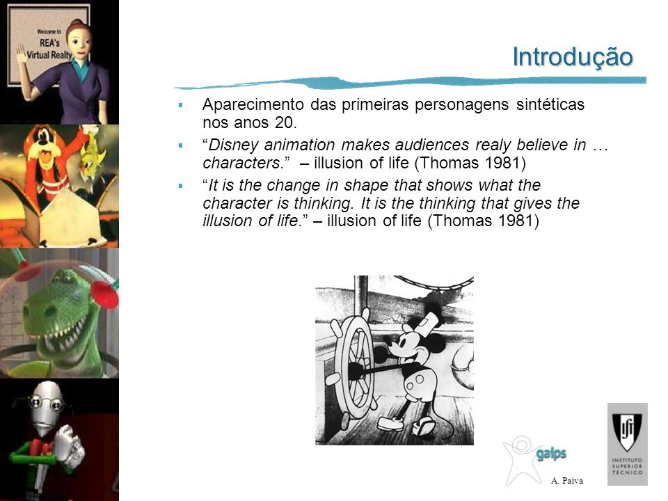 Introdução Aparecimento das primeiras personagens sintéticas nos anos 20.