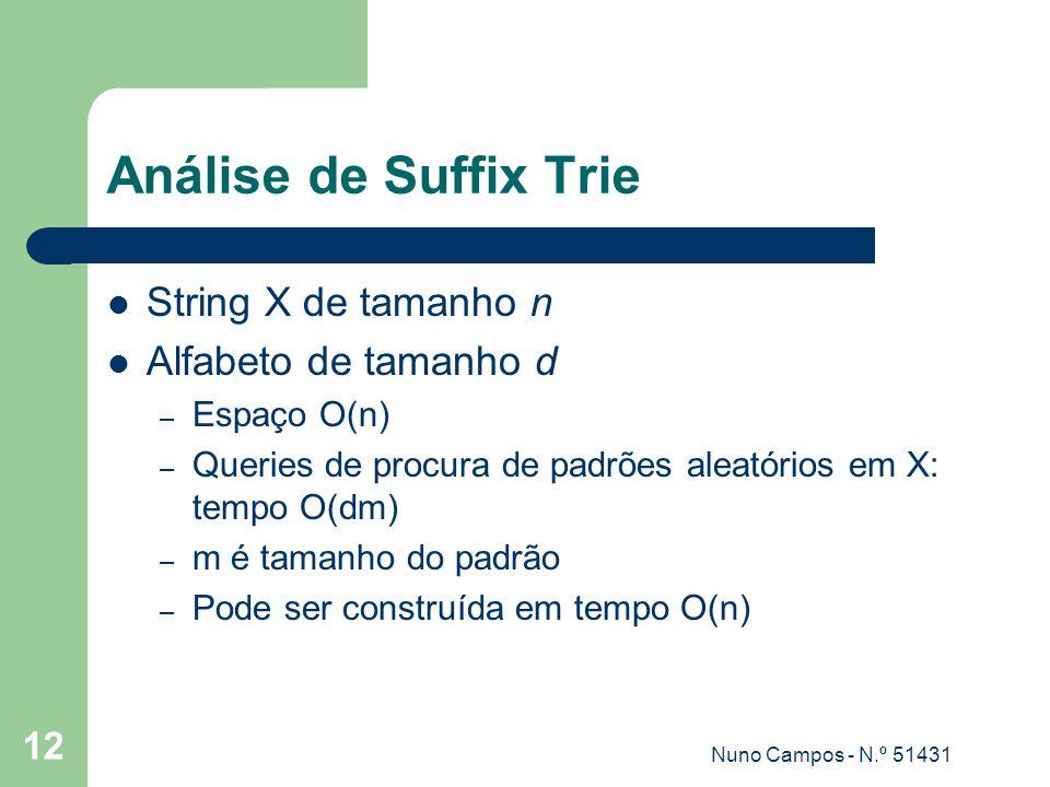 Análise de Suffix Trie String X de tamanho n Alfabeto de tamanho d