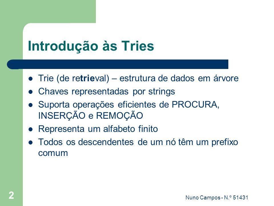 Introdução às Tries Trie (de retrieval) – estrutura de dados em árvore