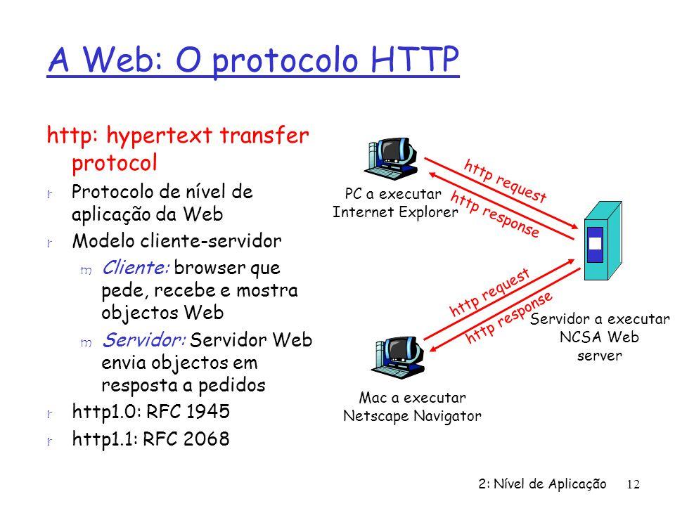A Web: O protocolo HTTP http: hypertext transfer protocol