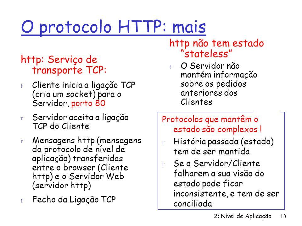 O protocolo HTTP: mais http não tem estado stateless