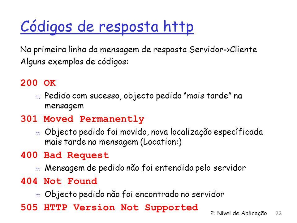 Códigos de resposta http