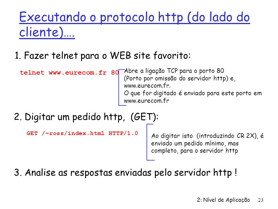 Executando o protocolo http (do lado do cliente)….