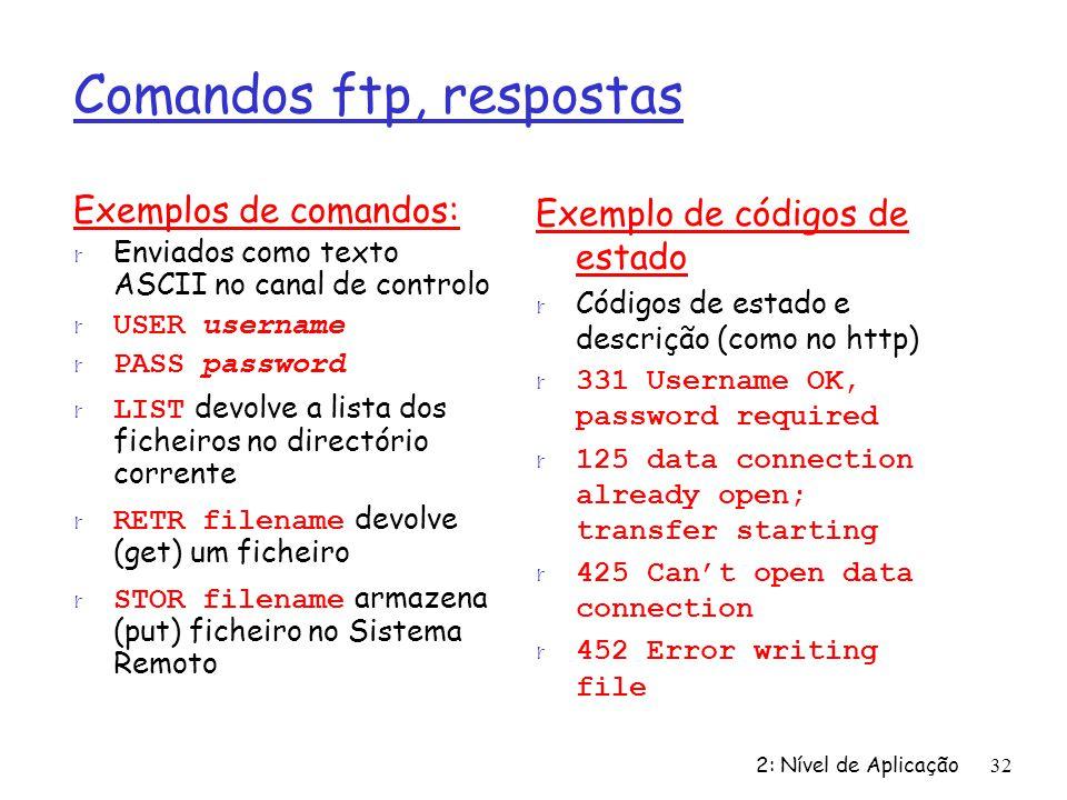 Comandos ftp, respostas
