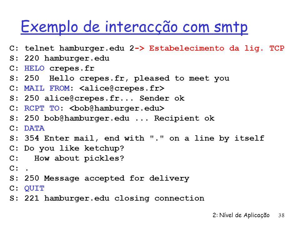 Exemplo de interacção com smtp