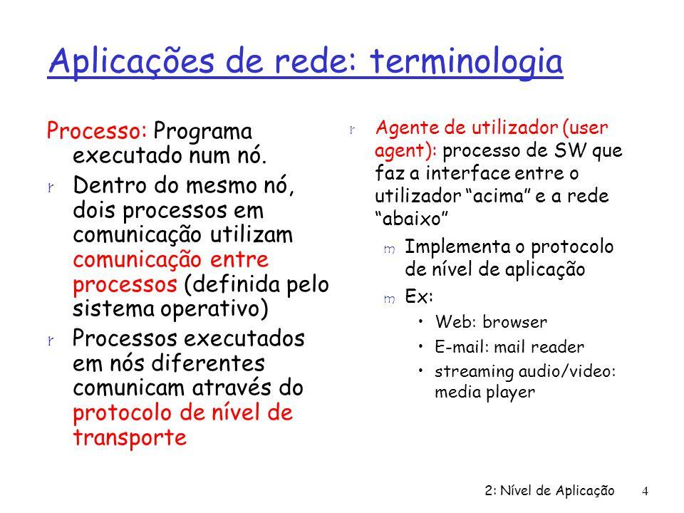 Aplicações de rede: terminologia
