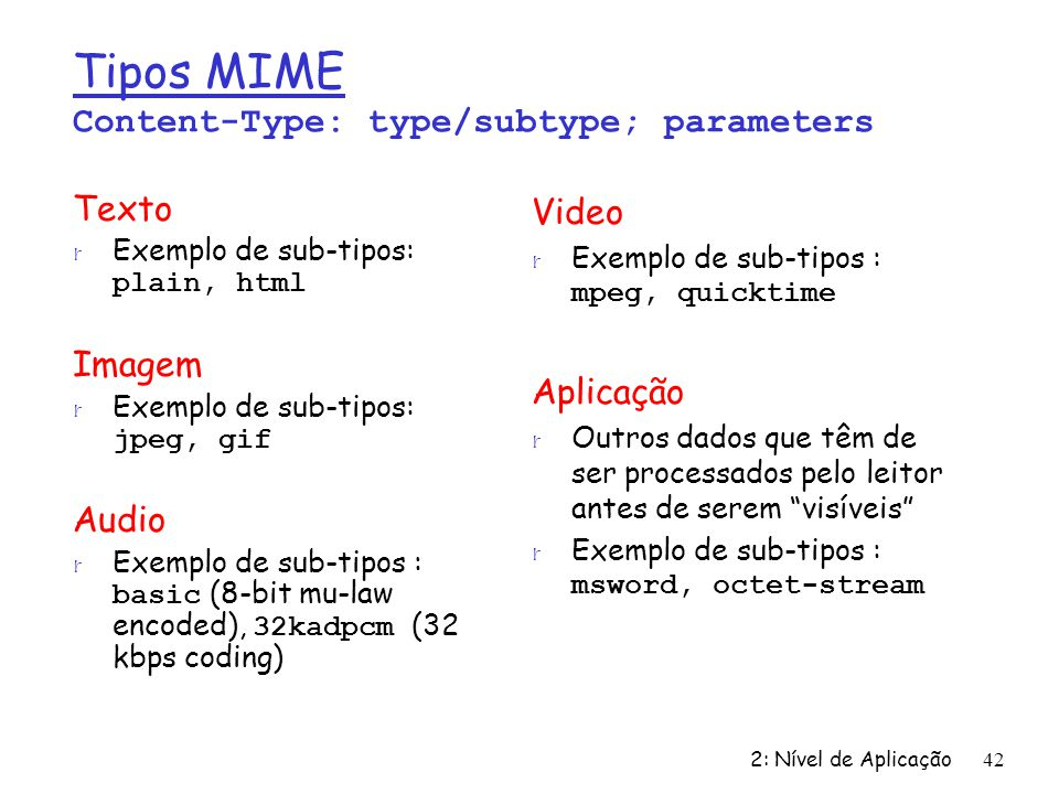 Tipos MIME Content-Type: type/subtype; parameters