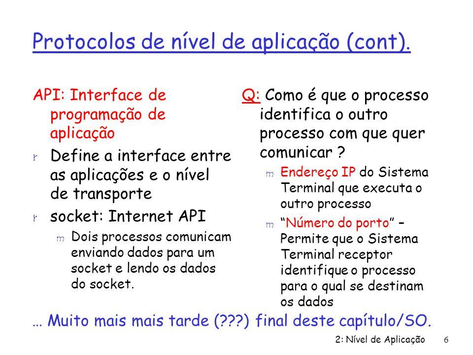 Protocolos de nível de aplicação (cont).