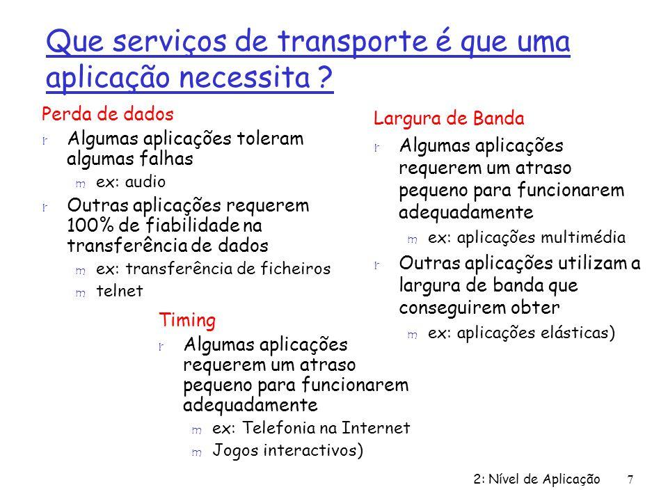 Que serviços de transporte é que uma aplicação necessita