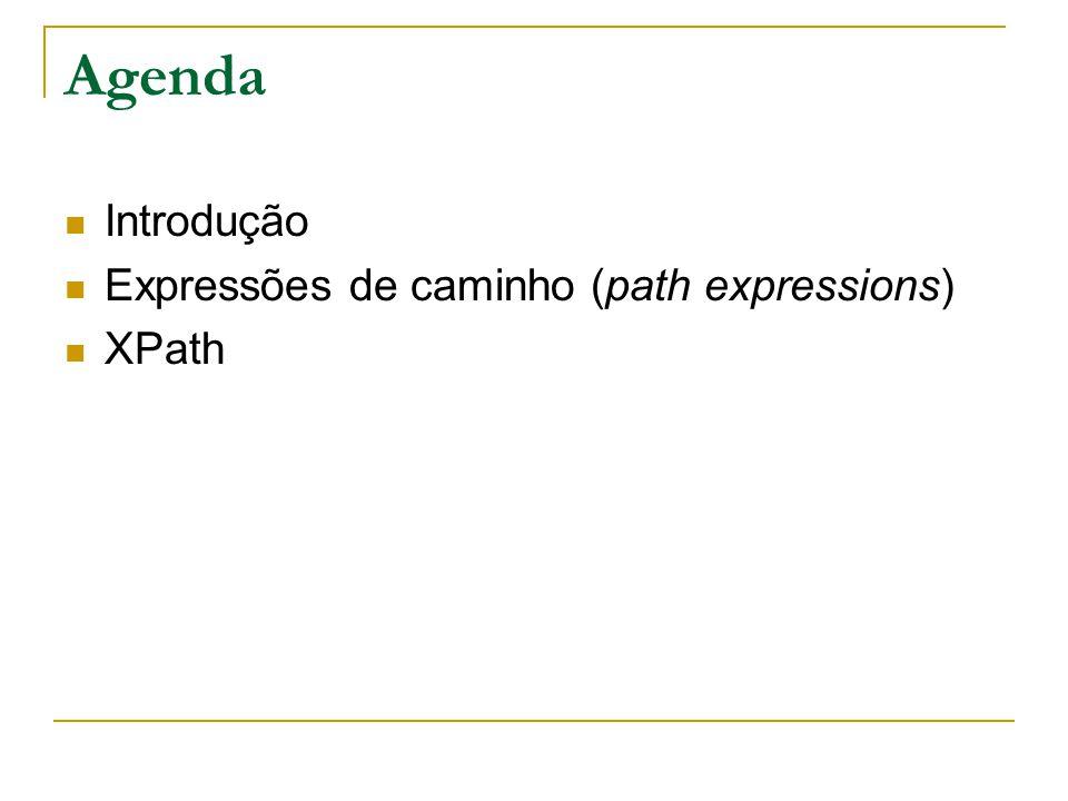 Agenda Introdução Expressões de caminho (path expressions) XPath