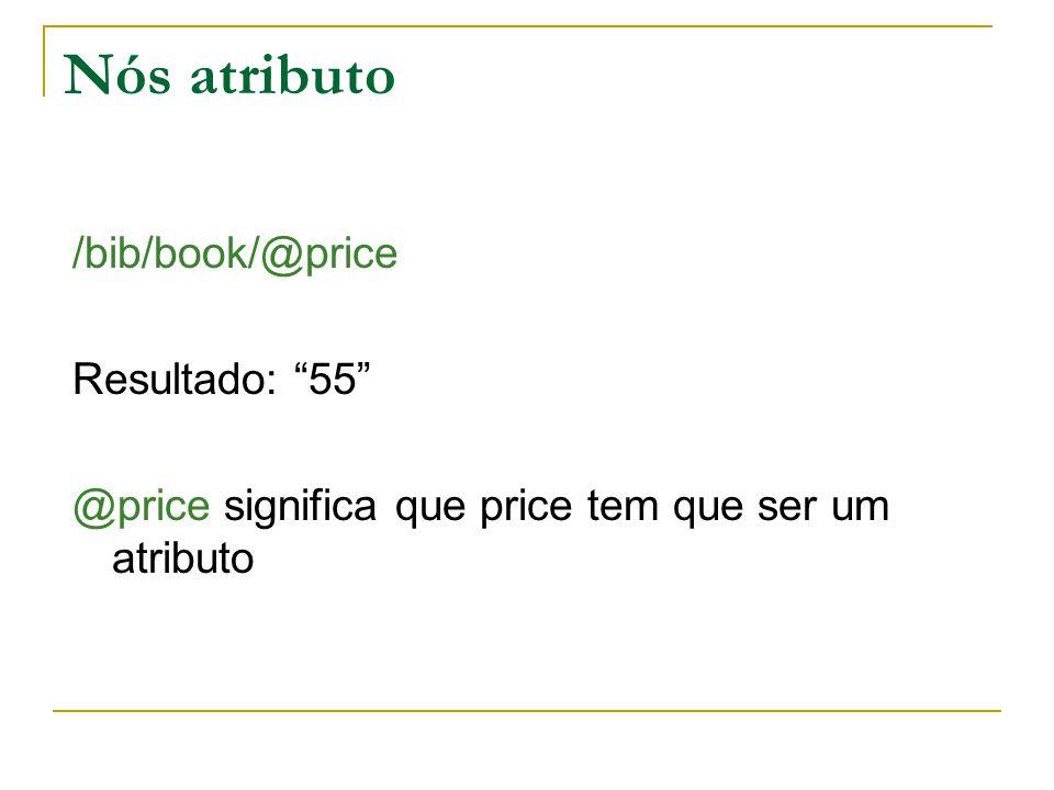 Nós atributo /bib/book/@price Resultado: 55