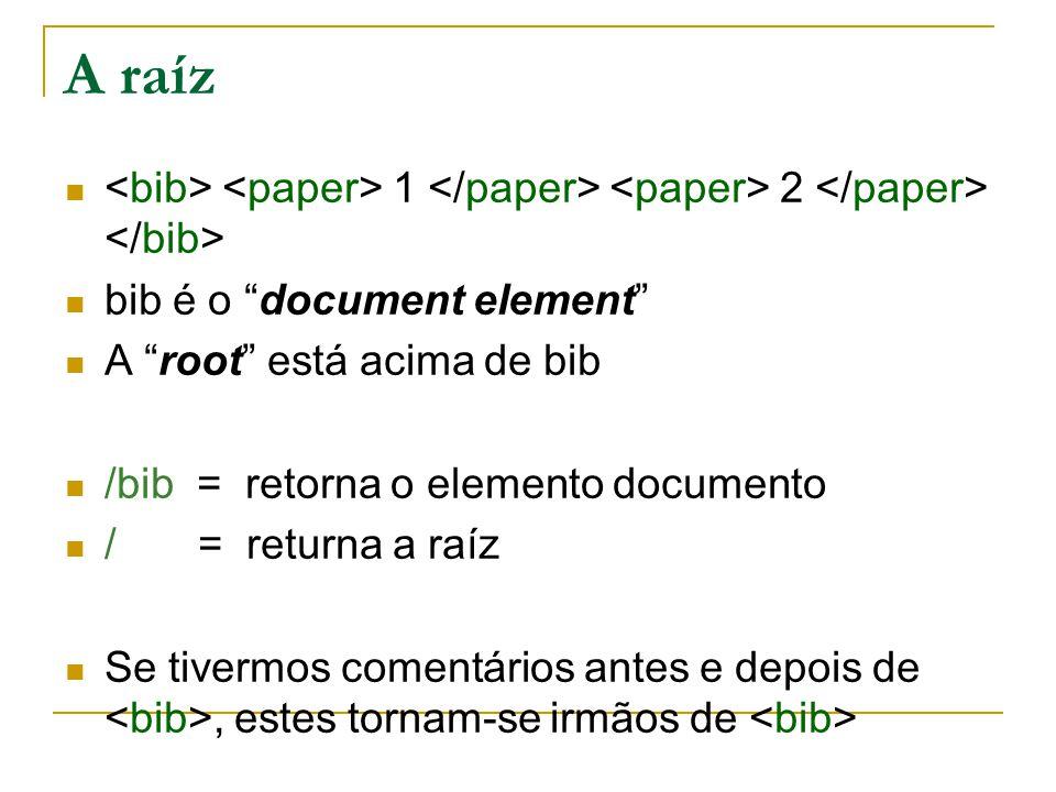 A raíz <bib> <paper> 1 </paper> <paper> 2 </paper> </bib> bib é o document element A root está acima de bib.