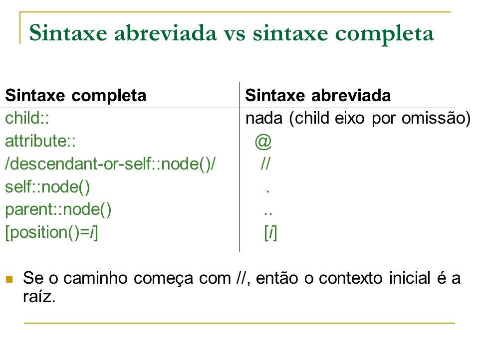 Sintaxe abreviada vs sintaxe completa