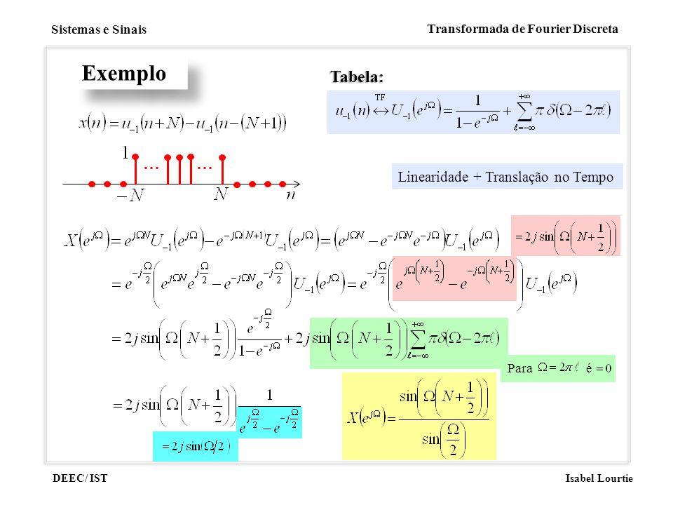 Exemplo Tabela: … Linearidade + Translação no Tempo Para é