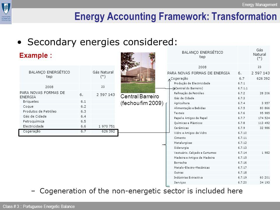 Energy Accounting Framework: Transformation